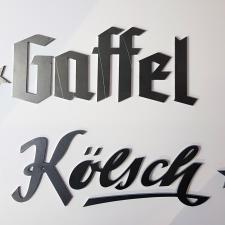 Schriftzug aus Baustahl, Stärke 2 mm, lasergeschnitten